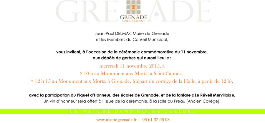 comm moration du 11 novembre mairie de grenade. Black Bedroom Furniture Sets. Home Design Ideas