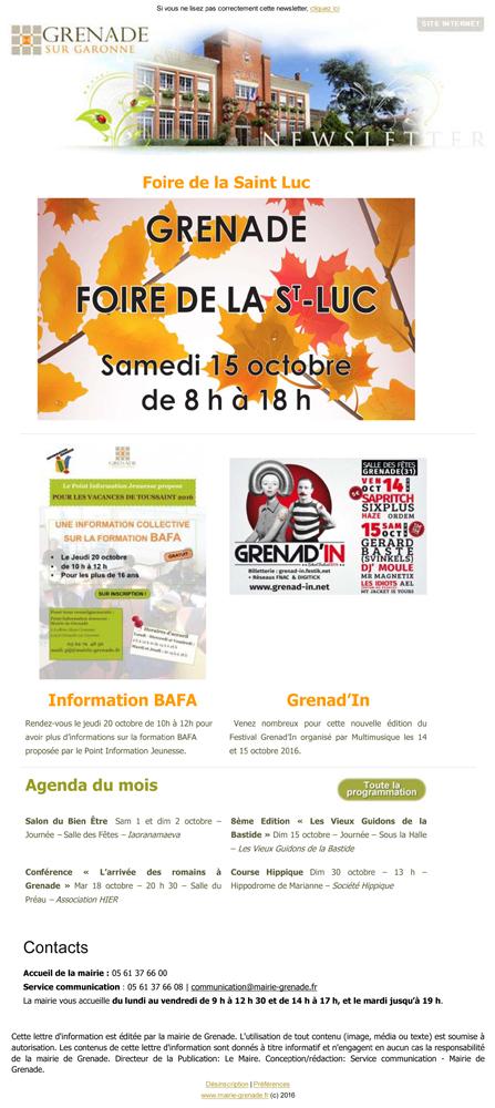 Newsletter octobre 2016 mairie de grenade - Office national de publication et de communication ...