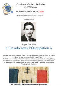 Conférence « Un ado sous l'Occupation » Roger TAUPIN