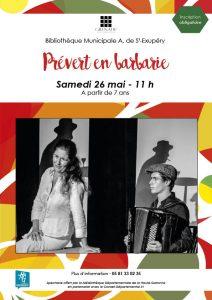 Spectacle : Prévert en barbarie @ Bibliothèque Municipale Antoine de Saint-Exupéry | Grenade | Occitanie | France