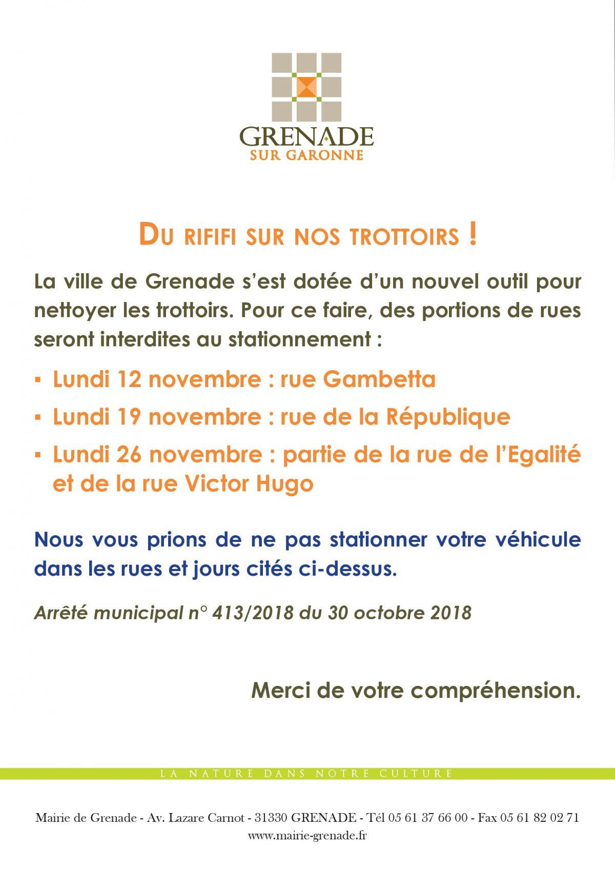 Stationnement interdit : 12, 19 et 26 novembre