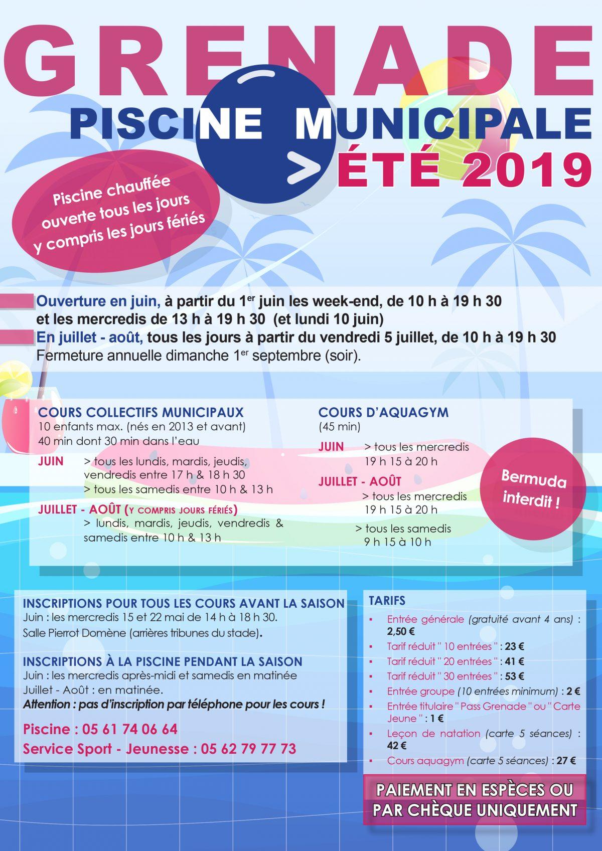 Saison 2019 – Piscine Municipale