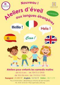 Ateliers d'éveil aux langues étrangères pour les petits @ Bibliothèque Antoine de Saint-Exupéry | Grenade | Occitanie | France