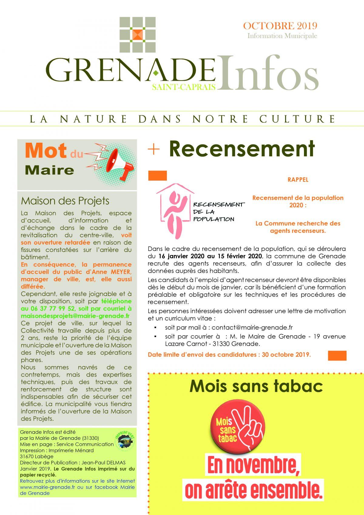 Grenade Infos octobre