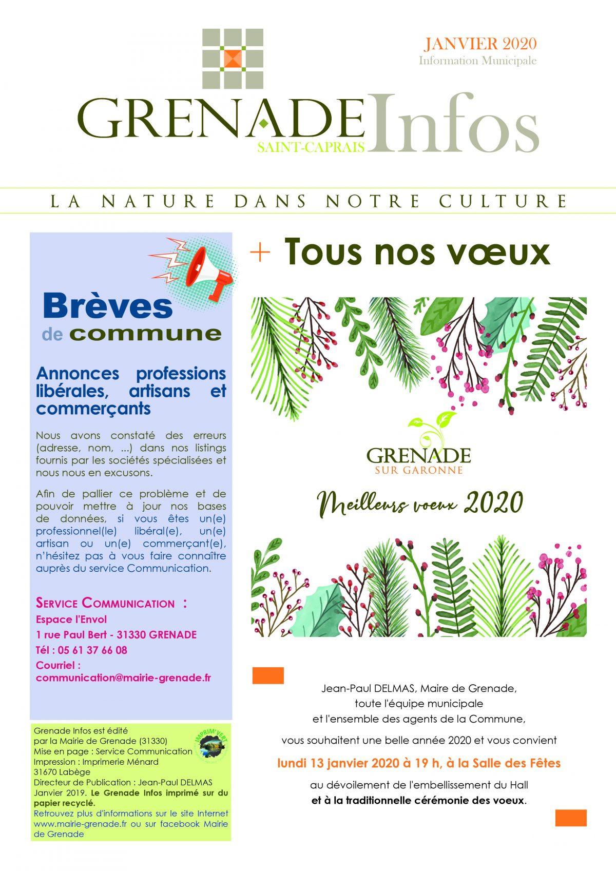 Grenade Infos janvier 2020