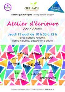 Atelier d'Ecriture avec Isabelle Pellausy @ Bibliothèque municipale | Grenade | Occitanie | France