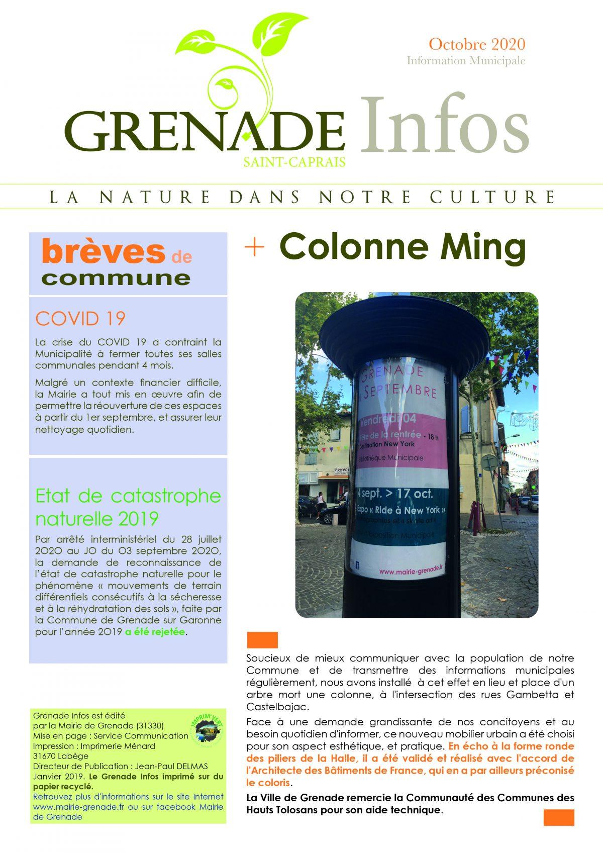 Grenade Infos octobre 2020