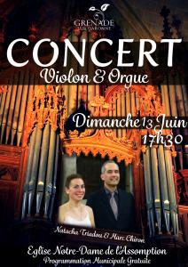 Concert Violon & Orgue @ Eglise Notre Dame de Grandselve | Grenade | Occitanie | France