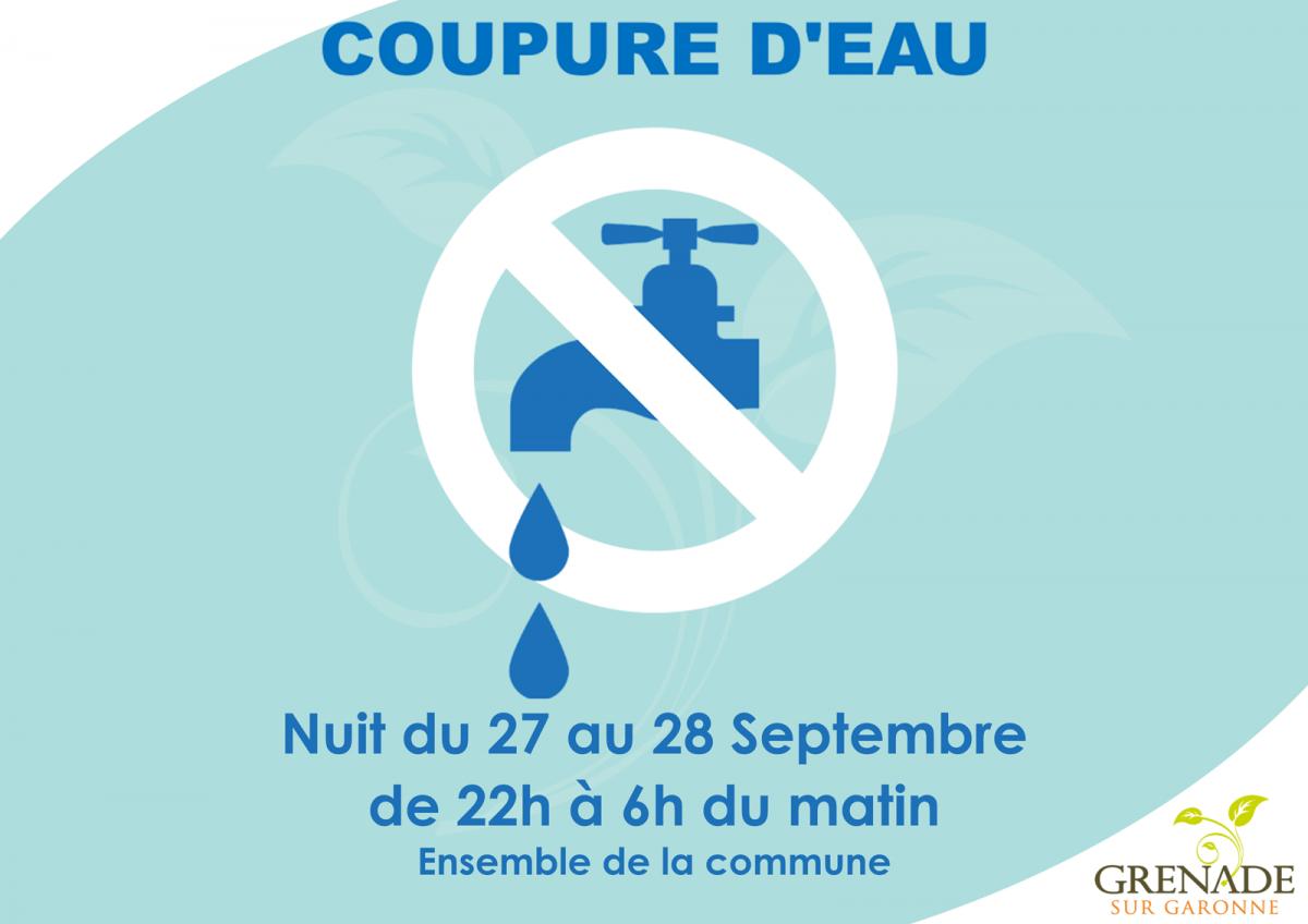 Coupure d'eau dans la nuit du 27 au 28 septembre (22h à 6h)