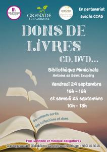 Dons de livres, CD, DVD... @ Bibliothèque Municipale Antoine de Saint-Exupéry | Grenade | Occitanie | France
